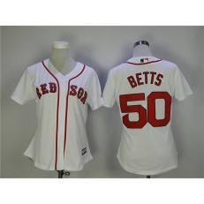 MLB Boston Red Sox 50 Mookie Betts White Cool Base Women Jersey