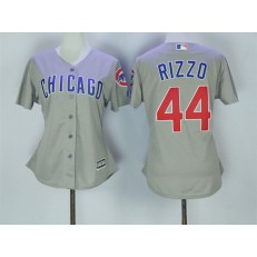 MLB Chicago Cubs 44 Anthony Rizzo Grey Cool Base Women Jersey