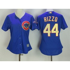 MLB Chicago Cubs 44 Anthony Rizzo Royal Blue World Series Champions Gold Stitched Majestic 2017 Cool Base Women Jersey