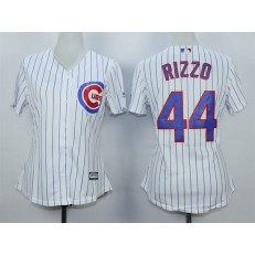 MLB Chicago Cubs 44 Anthony Rizzo White Home Cool Base Baseball Women Jersey