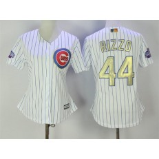 MLB Chicago Cubs 44 Anthony Rizzo White World Series Champions Gold Stitched Majestic Cool Base Women Jersey