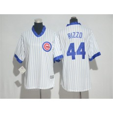 MLB Chicago Cubs 44 Anthony Rizzo White(Blue Strip) Cooperstown Stitched Women Jersey