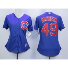 MLB Chicago Cubs 49 Jake Arrieta Blue Cool Base Baseball Women Jersey
