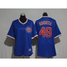 MLB Chicago Cubs 49 Jake Arrieta Blue Cooperstown Stitched Women Jersey