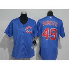 MLB Chicago Cubs 49 Jake Arrieta Blue Home Cool Base Baseball Women Jersey