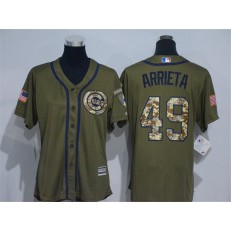 MLB Chicago Cubs 49 Jake Arrieta Green Salute to Service Majestic Baseball Women Jersey