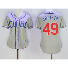 MLB Chicago Cubs 49 Jake Arrieta Grey Alternate Road Stitched Baseball Women Jersey