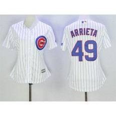 MLB Chicago Cubs 49 Jake Arrieta White Home Cool Base Baseball Women Jersey