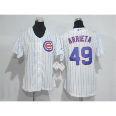 MLB Chicago Cubs 49 Jake Arrieta White Home New Cool Base Baseball Women Jersey