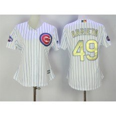 MLB Chicago Cubs 49 Jake Arrieta White World Series Champions Gold Stitched Majestic Cool Base Women Jersey