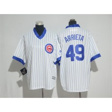 MLB Chicago Cubs 49 Jake Arrieta White(Blue Strip) Cooperstown Stitched Women Jersey