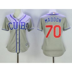 MLB Chicago Cubs 70 Joe Maddon Grey Alternate Road Stitched Baseball Women Jersey