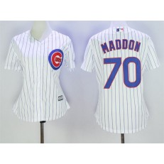 MLB Chicago Cubs 70 Joe Maddon White Home Cool Base Baseball Women Jersey