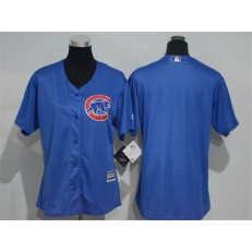 MLB Chicago Cubs Blank Blue Home Cool Base Baseball Women Jersey