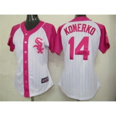 MLB Chicago White Sox 14 Paul Konerko 2012 Fashion by Majestic Athletic Women Jersey