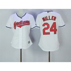 MLB Cleveland Indians 24 Andrew Miller White Home Stitched Women Jersey