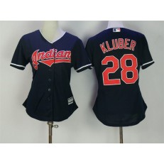 MLB Cleveland Indians 28 Corey Kluber Navy Blue Stitched Majestic Cool Base Women Jersey