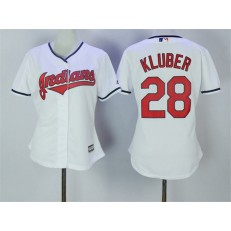 MLB Cleveland Indians 28 Corey Kluber White Home Stitched Women Jersey