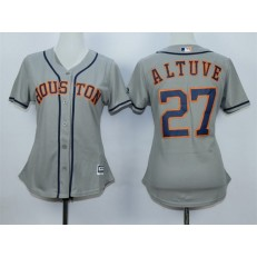 MLB Houston Astros 27 Jose Altuve Away Gray 2015 Cool Base Women Jersey