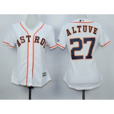 MLB Houston Astros 27 Jose Altuve Home White 2015 Cool Base Women Jersey
