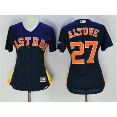 MLB Houston Astros 27 Jose Altuve Navy Blue Alternate Stitched Women Jersey