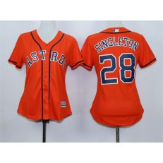 MLB Houston Astros 28 Jon Singleton Alternate Orange 2015 Cool Base Women Jersey