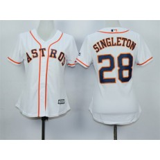 MLB Houston Astros 28 Jon Singleton Home White 2015 Cool Base Women Jersey