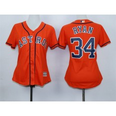 MLB Houston Astros 34 Nolan Ryan Alternate Orange 2015 Cool Base Women Jersey