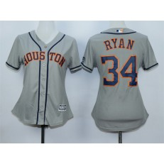 MLB Houston Astros 34 Nolan Ryan Away Gray 2015 Cool Base Women Jersey