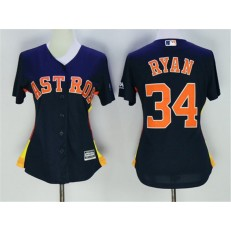 MLB Houston Astros 34 Nolan Ryan Navy Blue Alternate Stitched Women Jersey