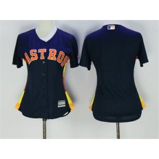 MLB Houston Astros Blank Navy Blue Alternate Stitched Women Jersey