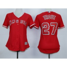 MLB LA Angels Of Anaheim 27 Mike Trout Alternate Red 2015 MLB Cool Base Women Jersey