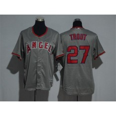 MLB LA Angels Of Anaheim 27 Mike Trout Home Grey New Cool Base Women Jersey
