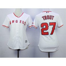 MLB LA Angels Of Anaheim 27 Mike Trout Home White 2015 Cool Base Women Jersey