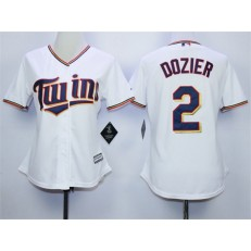 MLB Minnesota Twins 2 Denard Span White Home Cool Base Baseball Women Jersey