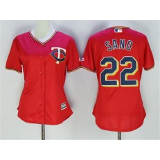 MLB Minnesota Twins 22 Miguel Sano Red Stitched Majestic Cool Base Women Jersey
