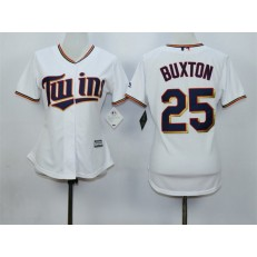 MLB Minnesota Twins 25 Byron Buxton White Home Cool Base Baseball Women Jersey