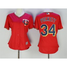 MLB Minnesota Twins 34 Kirby Puckett Red Stitched Majestic Cool Base Women Jersey