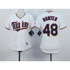 MLB Minnesota Twins 48 Torii Hunter White Home Cool Base Baseball Women Jersey