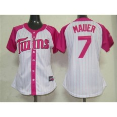 MLB Minnesota Twins 7 Joe Mauer 2012 Fashion by Majestic Athletic Women Jersey