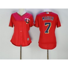 MLB Minnesota Twins 7 Joe Mauer Red Stitched Majestic Cool Base Women Jersey