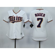 MLB Minnesota Twins 7 Joe Mauer White Home Cool Base Baseball Women Jersey