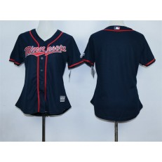 MLB Minnesota Twins Blank Navy Blue 2015 Alternate Road Women Jersey