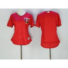 MLB Minnesota Twins Blank Red Stitched Majestic Cool Base Women Jersey