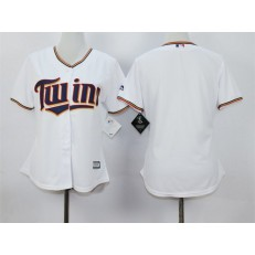 MLB Minnesota Twins Blank White Home Cool Base Baseball Women Jersey