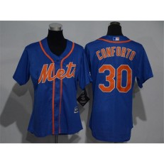 MLB New York Mets 30 Michael Conforto Alternate Blue With Gray Stitched Cool Base Women Jersey