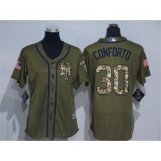 MLB New York Mets 30 Michael Conforto Green Salute to Service Majestic Baseball Women Jersey
