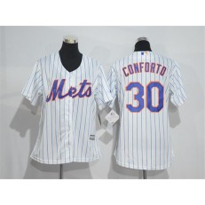 MLB New York Mets 30 Michael Conforto White With Blue Strip Women Jersey