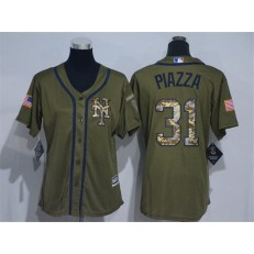 MLB New York Mets 31 Mike Piazza Green Salute to Service Majestic Baseball Women Jersey