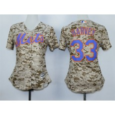 MLB New York Mets 33 Matt Harvey 2015 Camo Women Jersey